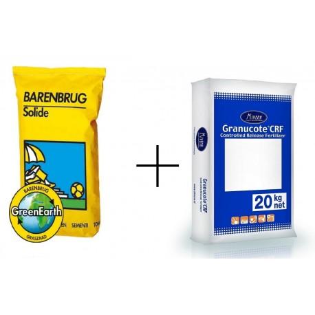 Trawa ozodbna Solide 15 kg + nawóz do zakładania nowej trawy  Granucote 20 kg